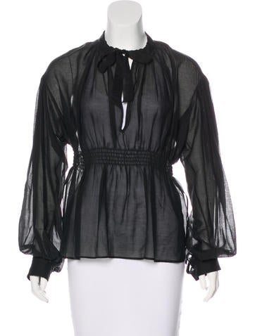 Chanel Silk Long Sleeve Blouse None