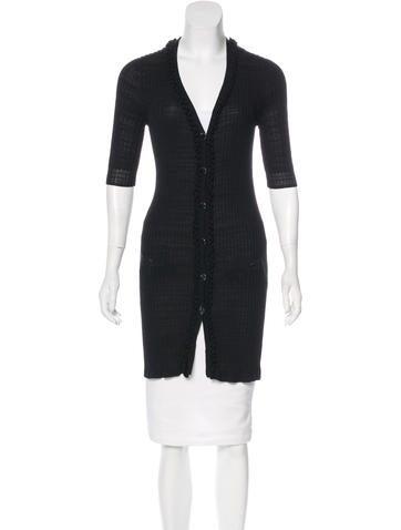 Chanel Rib Knit Longline Cardigan None