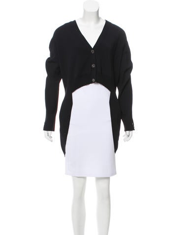 Chanel High-Low V-Neck Cardigan None