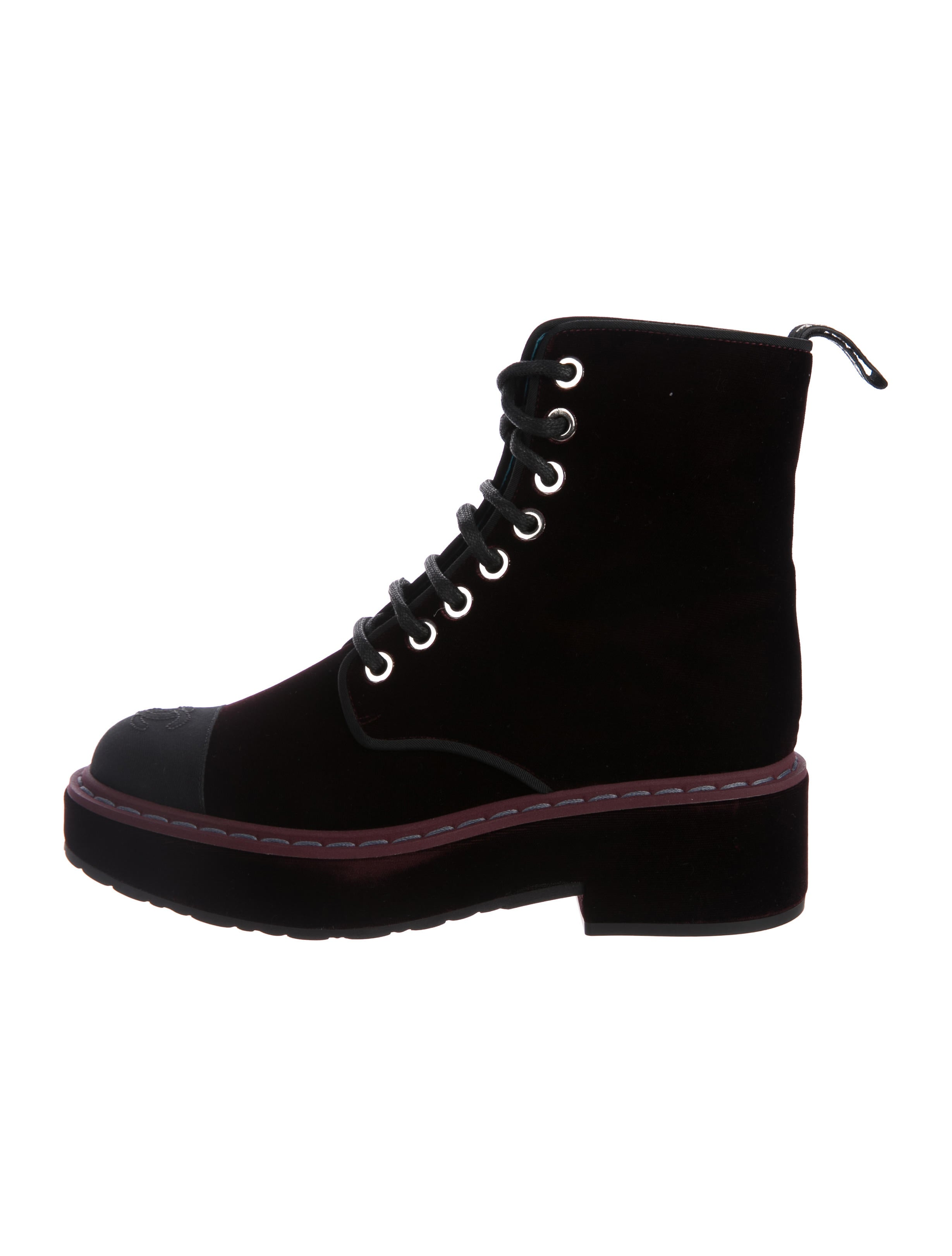9fe6ec04b54e Chanel Velvet Combat Boots w  Tags - Shoes - CHA222516