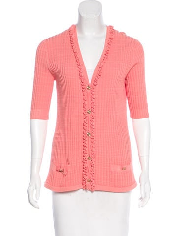 Chanel V-Neck Rib Knit Cardigan None