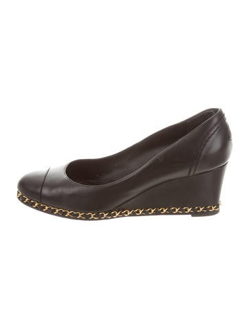Chanel Chain-Link Cap-Toe Wedges None