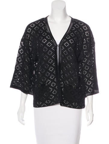 Chanel Silk Open Knit Cardigan None
