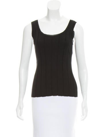 Chanel Sleeveless Ribbed Top None