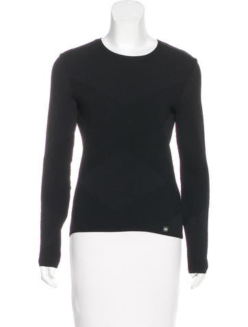 Chanel Rib Knit Long Sleeve Top None