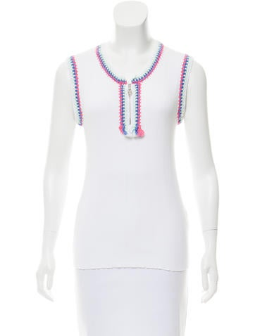 Chanel Crochet-Trimmed Sleeveless Top None