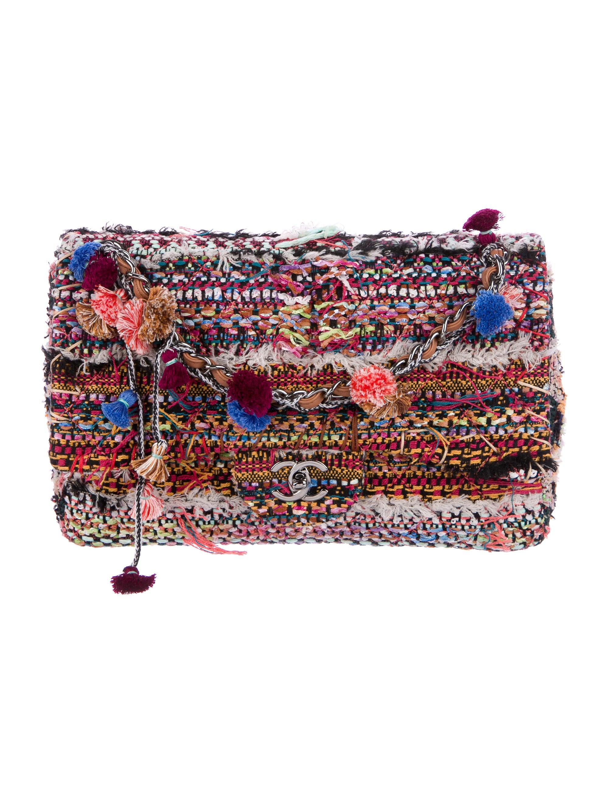 c71e5ab41a9b7b Chanel Classic Jumbo Tweed Pom-Pom Single Flap Bag w/ Tags ...