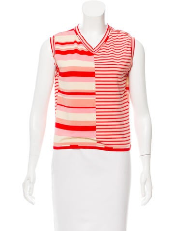 Chanel Sleeveless Striped Top None