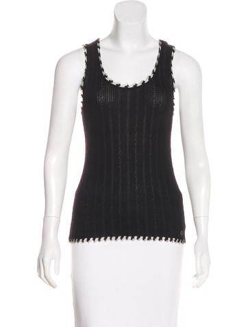 Chanel Rib Knit Scoop Neck Top None