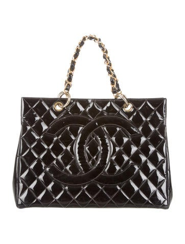 Chanel Quilted Patent Leather Tote None