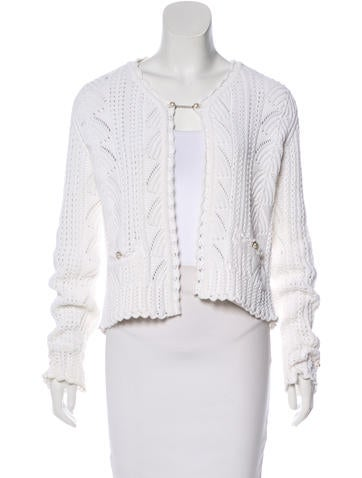 Chanel Open Knit Crew Neck Cardigan None