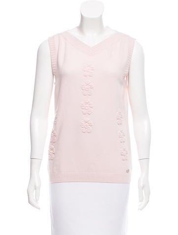 Chanel 2016 Camellia Cashmere Top None