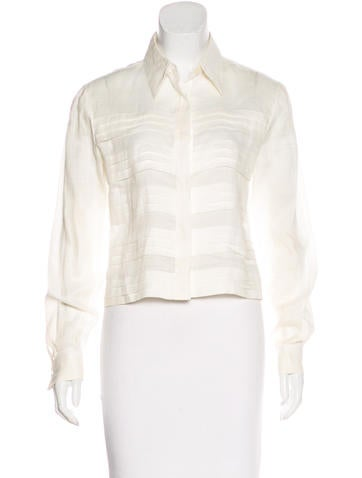 Chanel Pleated Button-Up Top None