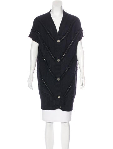 Chanel Zip-Accented Longline Cardigan None
