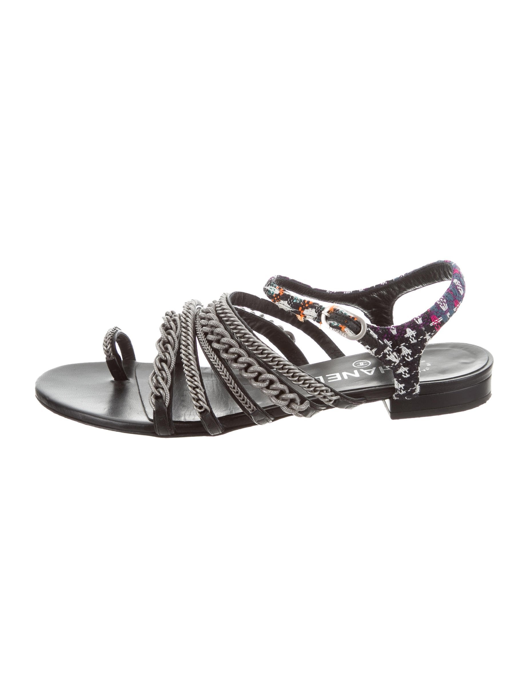 6ae41290dfb Chanel 2015 Tweed Chain-Link Sandals - Shoes - CHA228997