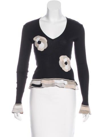 Chanel Camellia Intarsia Sweater None