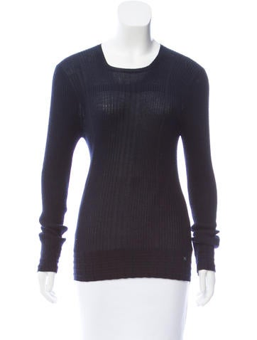 Chanel Cashmere-Blend Rib Knit Sweater None