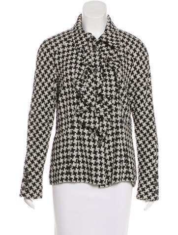 Chanel Silk Houndstooth Top None