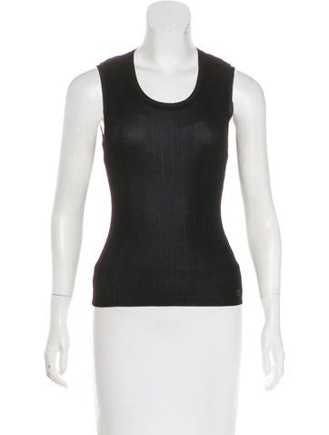 Chanel Rib Knit Sleeveless Top None