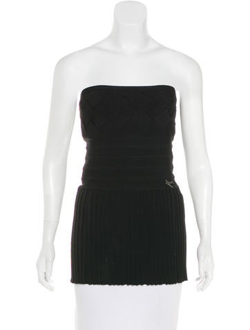 Chanel Strapless Knit Top None