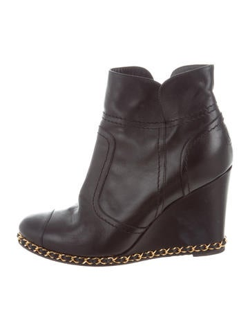 Chanel Chain-Link Wedges Boots None