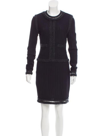 Chanel Wool-Blend Knit Dress None
