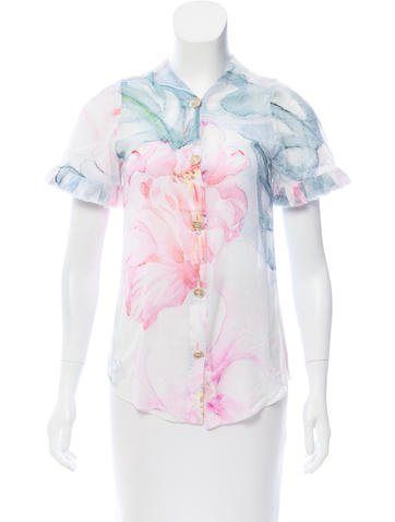Chanel Watercolor Button-Up Top None