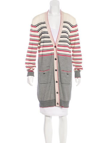 Chanel Striped Longline Cardigan None