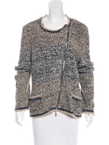 Chanel Silk Zip-Front Cardigan None