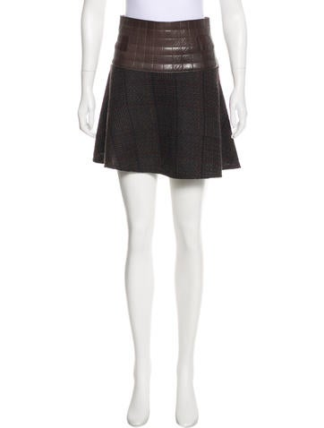Chanel Wool & Leather Skirt None