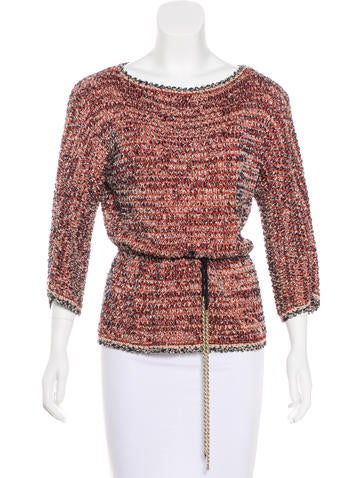Chanel Knit Belted Top None