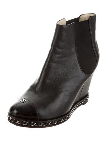 Cap-Toe Wedge Ankle Boots