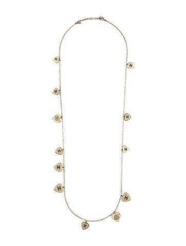 Faux Pearl & Enamel Heart Charm Necklace