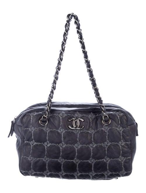 Chanel Tweed Stitch Bowler Bag Blue - image 1