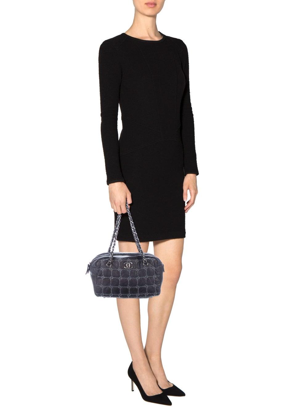 Chanel Tweed Stitch Bowler Bag Blue - image 2