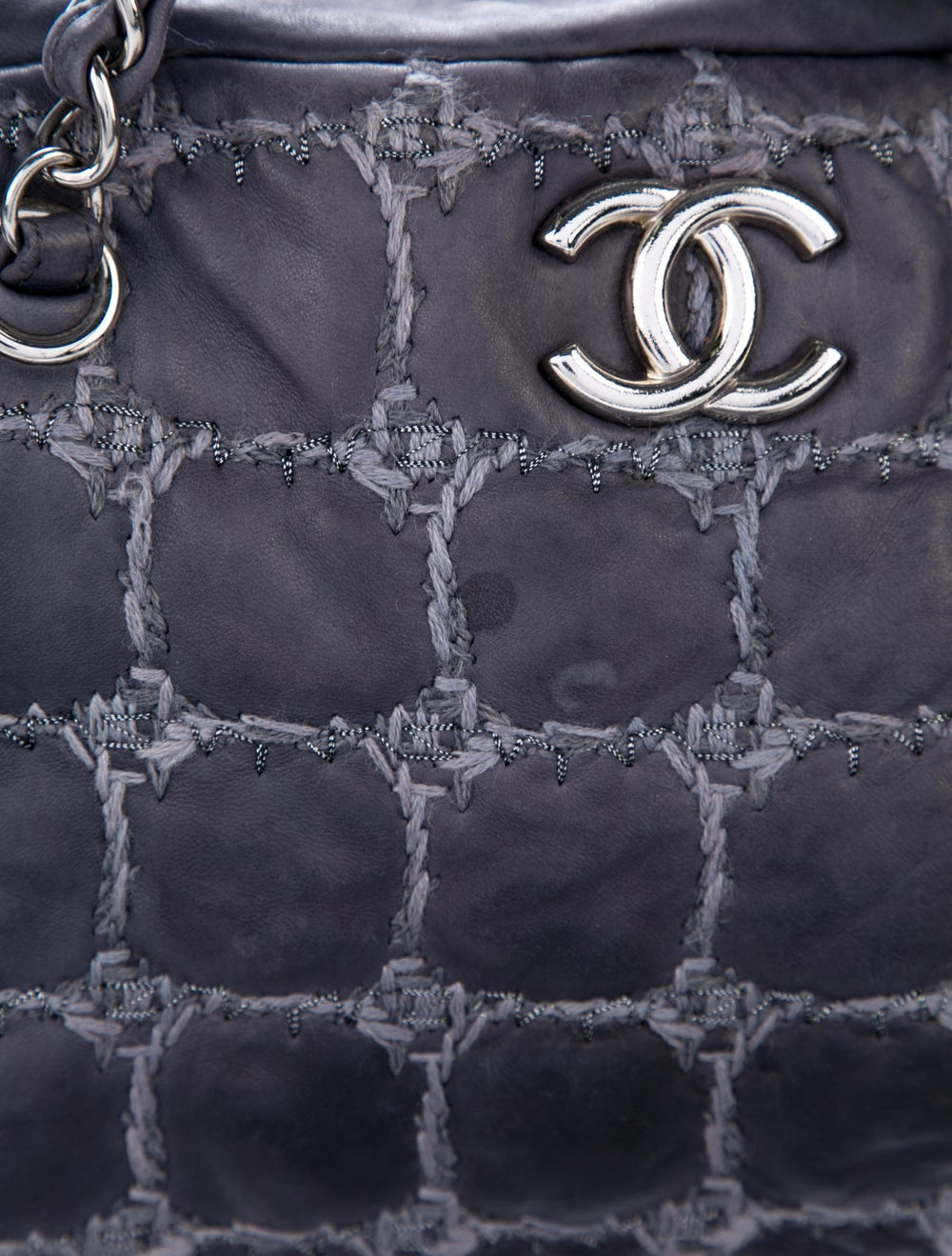 Chanel Tweed Stitch Bowler Bag Blue - image 6