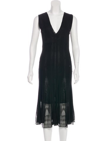 Chanel Crochet-Accented Midi Dress None