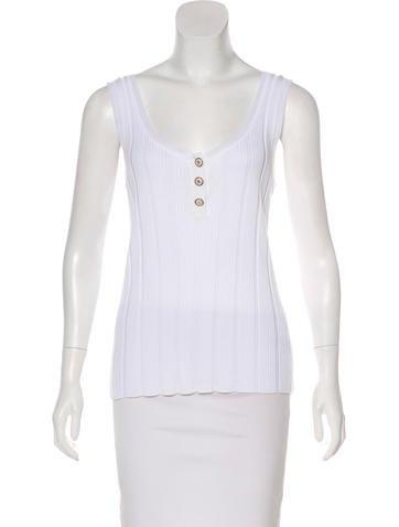 Chanel Rib Knit Sleeveless Top None