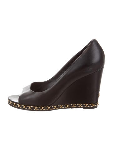 Chanel Chain-Link Leather Wedges None