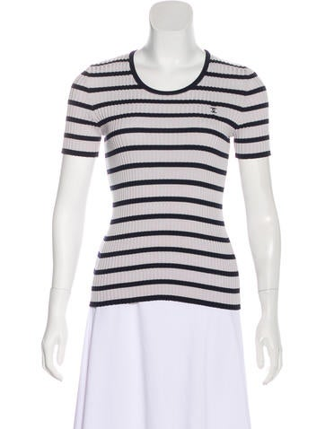 Chanel Striped Rib Knit Top None