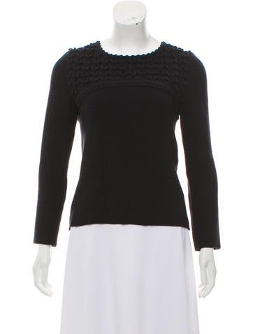 Chanel Wool-Blend Rib Knit Sweater None