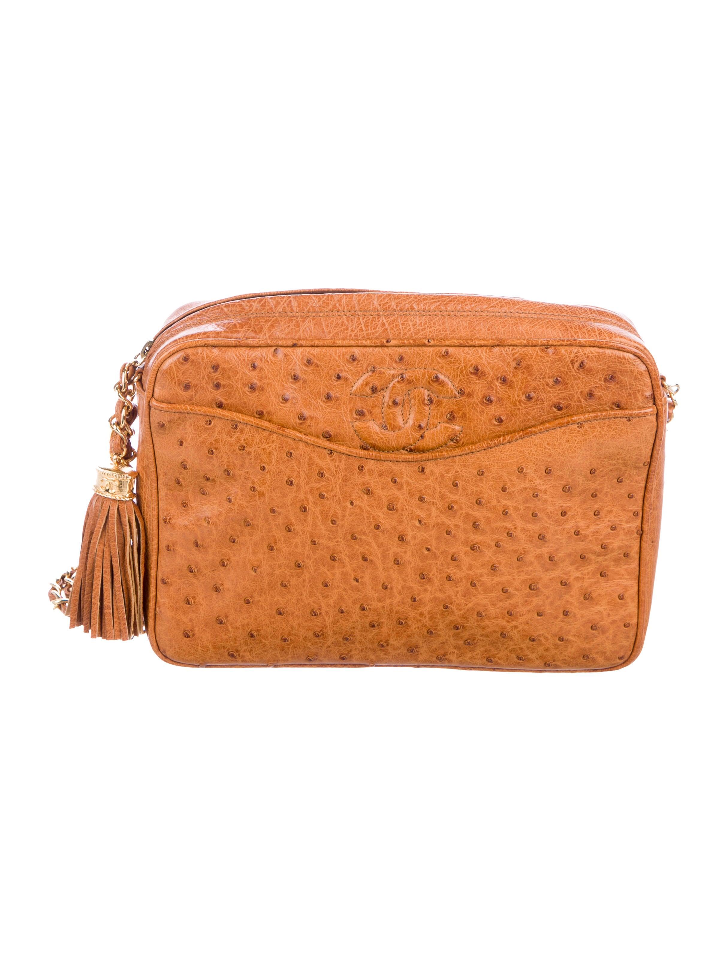 8fbc1e576c1f Chanel Vintage Ostrich Camera bag - Handbags - CHA255966   The RealReal