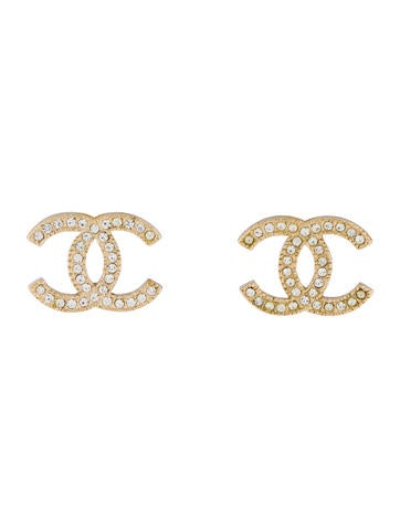 Chanel Crystal Cc Stud Earrings by Chanel