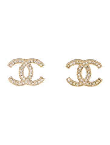 Chanel Crystal Cc Stud Earrings by Chanel