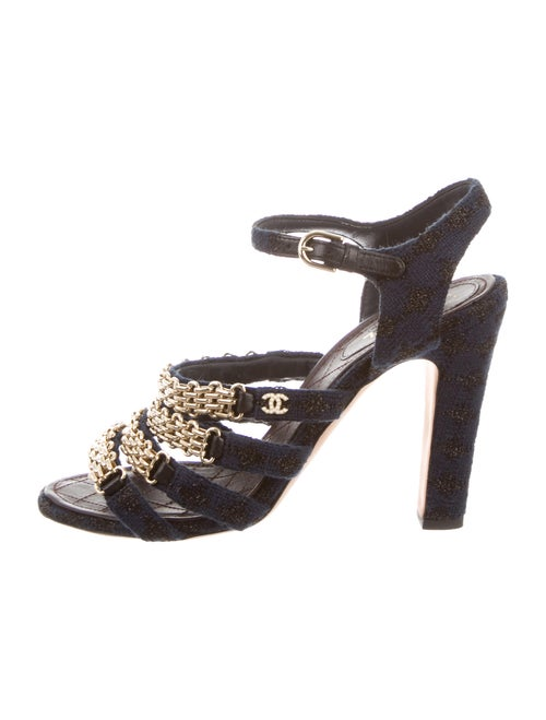 e55105c4345f Chanel 2016 Tweed Chain-Link Sandals - Shoes - CHA270862