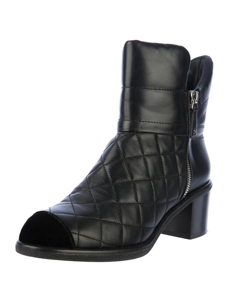 chanel quilted boots. quilted ankle boots chanel