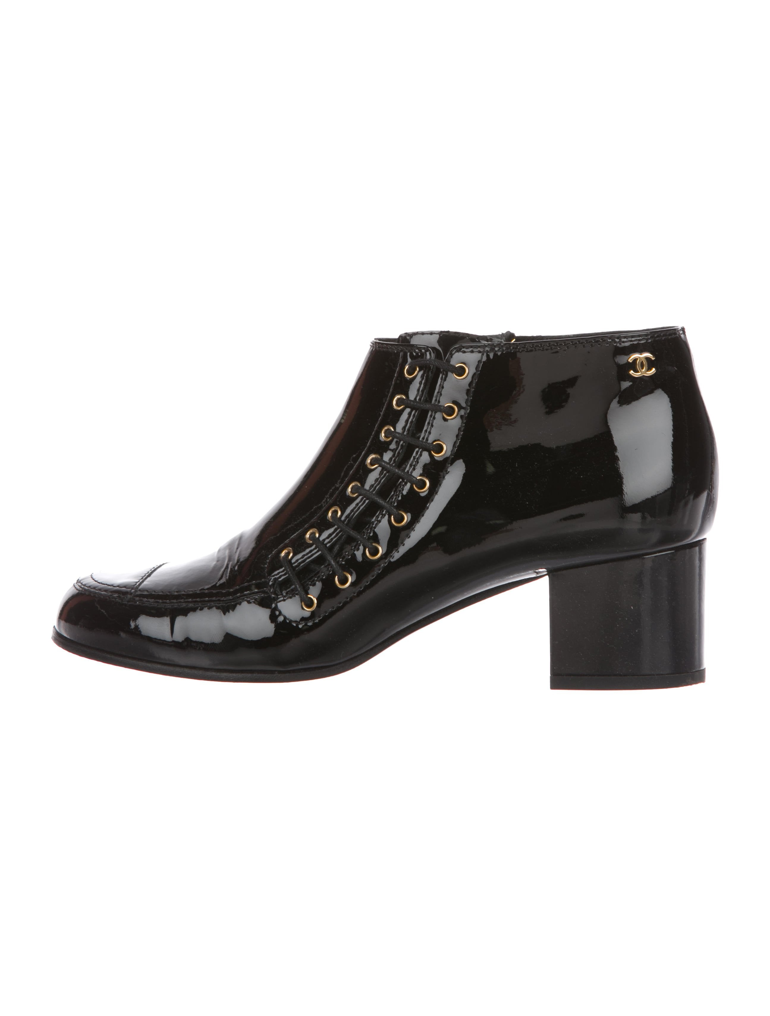 adb13cbdb88a Chanel Patent Leather CC Booties - Shoes - CHA279079