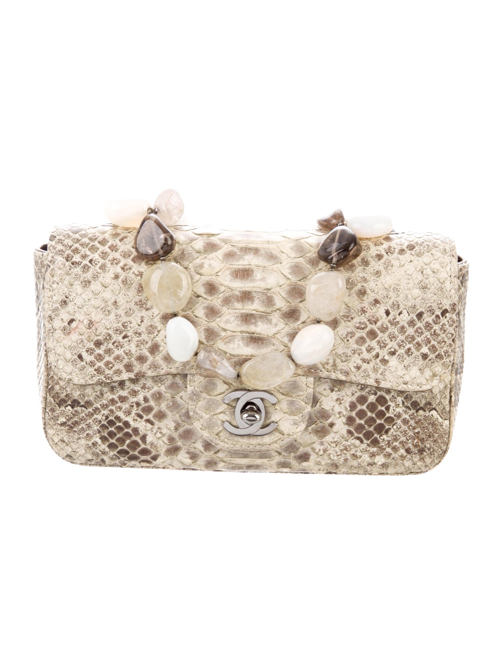 88fa307f06a4 Chanel Python Mini Flap Bag - Handbags - CHA295673 | The RealReal