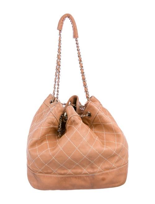 Chanel Surpique Drawstring Bucket Bag Tan