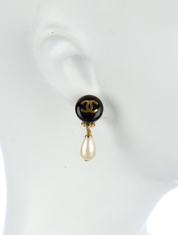 Pearl CC Drop Earrings